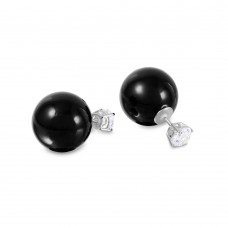 Wholesale Sterling Silver 925 Rhodium Plated CZ Stud with Black Synthetic Pearls - STE00994BLK