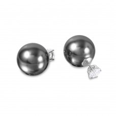 Wholesale Sterling Silver 925 Rhodium Plated CZ Stud with Grey Synthetic Pearls - STE00994GRY