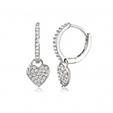 Wholesale Sterling Silver 925 Rhodium Plated Hoop with Hanging Heart Earrings - STE01042