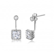 Sterling Silver Rhodium Plated Hanging Square Crown Set Earrings - STE01043