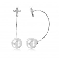 Wholesale Sterling Silver 925 Rhodium Plated Cross Earrings with Hanging Synthetic Pearl - STE01047