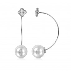 Sterling Silver Rhodium Plated Clover Earring with Hanging Synthetic Pearl - STE01048