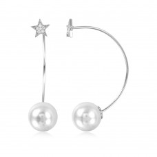 Sterling Silver Rhodium Plated Star Earring with Hanging Synthetic Pearl - STE01050