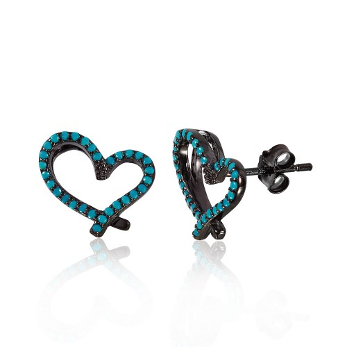 Wholesale Sterling Silver 925 Black Rhodium Plated Open Heart Stud Earrings With Synthetic Turquoise Stone - STE01051