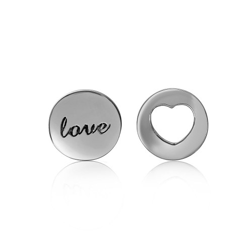 Wholesale Sterling Silver 925 Rhodium Plated Love and Heart Earrings - STE01052
