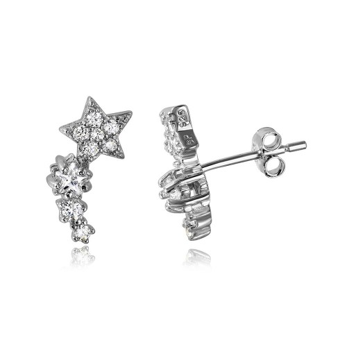 Wholesale Sterling Silver 925 Rhodium Plated Climbing Star CZ Stud Earrings - STE01056