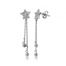 Wholesale Sterling Silver 925 Rhodium Plated CZ Star with Hanging Strands Earrings - STE01060