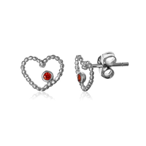 Wholesale Sterling Silver 925 Rhodium Plated Open Heart with Red CZ Earrings - STE01062
