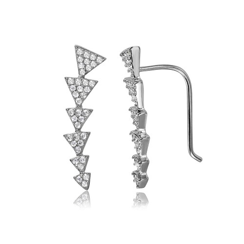 Wholesale Sterling Silver 925 Rhodium Plated 6 Arrow Up CZ Climbing Earrings - STE01067