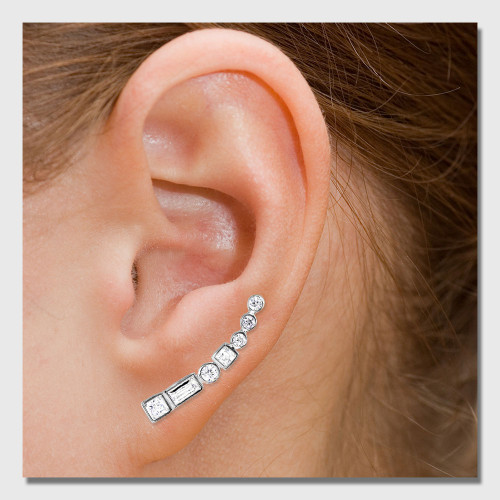 Wholesale Sterling Silver 925 Rhodium Plated Baguette and Round CZ Climbing Earrings - STE01068
