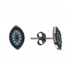 Wholesale Sterling Silver 925 Black Rhodium Evil Eye Earrings with Black CZ and Turquoise Stones - STE01072BP