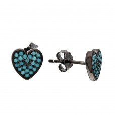 Wholesale Sterling Silver 925 Black Rhodium Plated Heart Earrings with Turquoise Stones - STE01074BLU