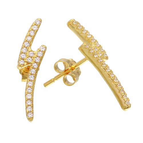 Wholesale Sterling Silver 925 Gold Plated Lightning CZ Earrings - STE01076GP