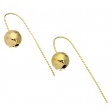 Wholesale Sterling Silver 925 Gold Plated Bead Earrings with Hanging Post  - STE01079GLD