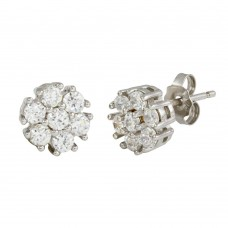 Sterling Silver Rhodium Plated CZ Flower Stud Earrings - STE01086
