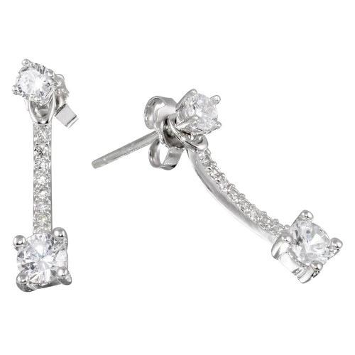 Wholesale Sterling Silver 925 Rhodium Plated Double Solitaire CZ Curve Earrings - STE01087