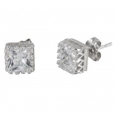 Wholesale Sterling Silver 925 Rhodium Plated Square Solitaire CZ Earrings - STE01088