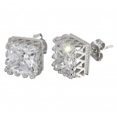 Wholesale Sterling Silver 925 Rhodium Plated Large Square Solitaire CZ Earrings - STE01089