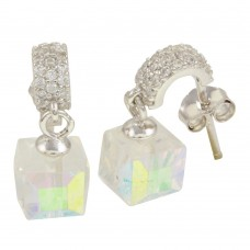 Wholesale Sterling Silver 925 Rhodium Plated Semi Huggie Earrings with Dangling Cube - STE01090