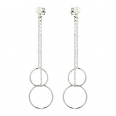 Wholesale Sterling Silver 925 Rhodium Plated Dangling Hoop Earrings - STE01096