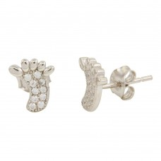 Sterling Silver Rhodium Plated Foot Stud Earrings with CZ - STE01098