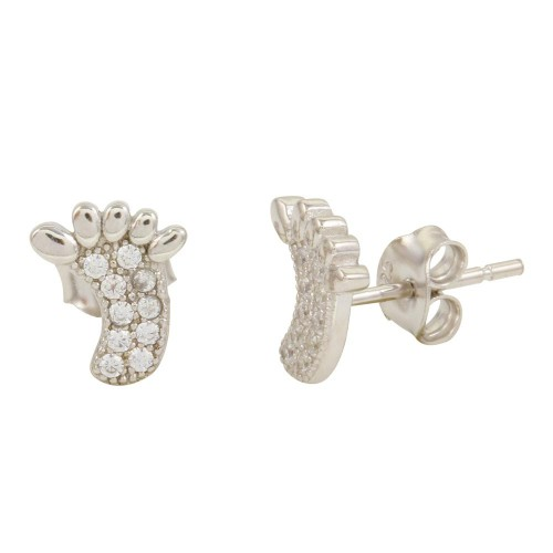Wholesale Sterling Silver 925 Rhodium Plated Foot Stud Earrings with CZ - STE01098