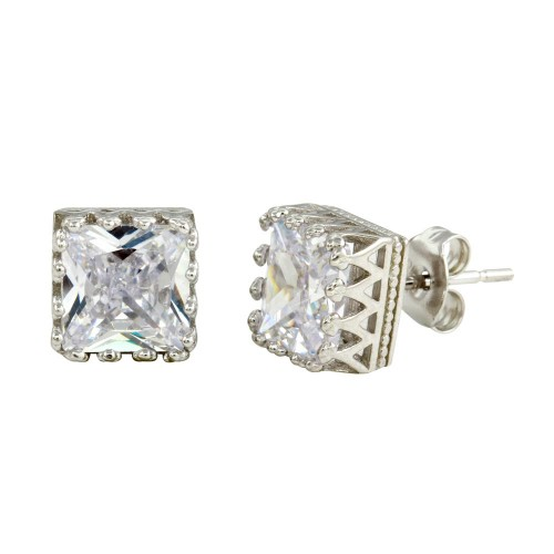 Wholesale Sterling Silver 925 Rhodium Plated CZ Stud Earrings - STE01102