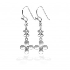 **Closeout** Wholesale Sterling Silver 925 Rhodium Plated Matte Finish Hanging Clover Earrings - STE00742