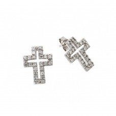 Wholesale Sterling Silver 925 Rhodium Plated Cross Clear CZ Inlay Stud Earrings - STE00023