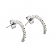 Sterling Silver Rhodium Plated Crescent Clear CZ Dangling Stud Earring ste00900