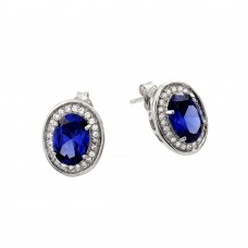 Wholesale Sterling Silver 925 Rhodium Plated Round Blue CZ Stud Earrings - STE00940
