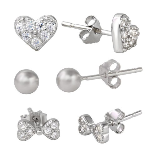 Wholesale Sterling Silver 925 Rhodium Plated Plain Bead CZ Heart and CZ Bowtie Stud Set - STES00002