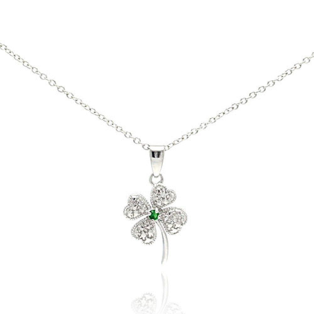 Wholesale Sterling Silver 925 Clear Green CZ Rhodium Plated Clover Pendant Necklace - STP00235-GREEN