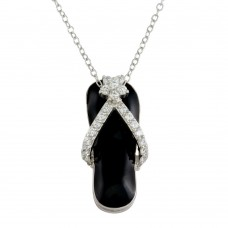 Wholesale Sterling Silver 925 Rhodium Plated Black Flip-Flop Necklace with CZ - STP00402BLK