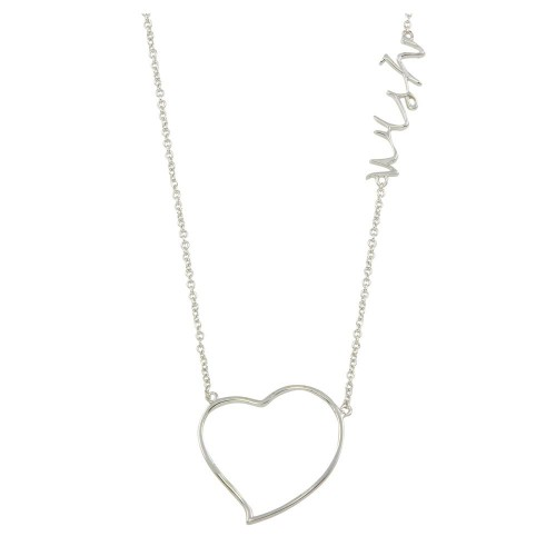 """Wholesale Sterling Silver 925 Rhodium Plated Heart """"Wish"""" Necklace - STP01128-WISH"""