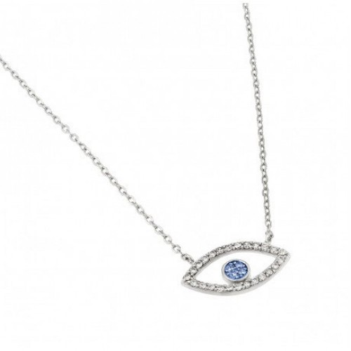 Wholesale Sterling Silver 925 Rhodium Plated Clear CZ Eye Pendant Necklace - STP01441