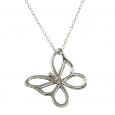 Wholesale Sterling Silver 925 Rhodium Plated Open Butterfly Necklace - STP01480