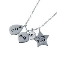 Wholesale Sterling Silver 925 Rhodium Plated 'You Are My Lucky Star' Charm Necklace - STP01489