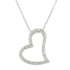 Wholesale Sterling Silver 925 Rhodium Plated Crooked Heart Necklace with CZ - STP01498