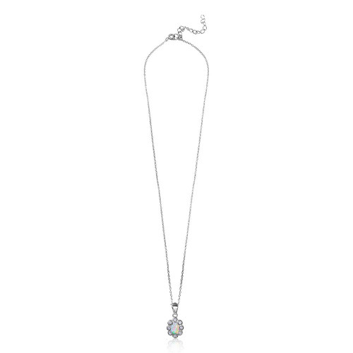 Wholesale Sterling Silver 925 Rhodium Plated CZ Flower with Synthetic Opal Necklace - STP01502