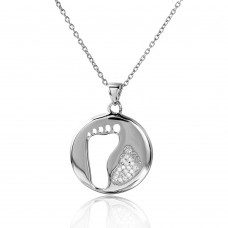 Wholesale Sterling Silver 925 Rhodium Plated Cut Out and CZ Foot Print Necklace - STP01504