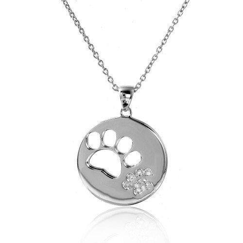 Wholesale Sterling Silver 925 Rhodium Plated Cut Out and CZ Paw Necklace - STP01506