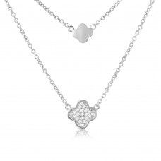 Sterling Silver Rhodium Plated CZ Clover Necklace - STP01507