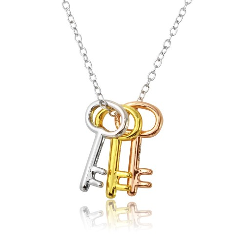 Wholesale Sterling Silver 925 Tri Color Plated Three Key Necklace - STP01572TRI