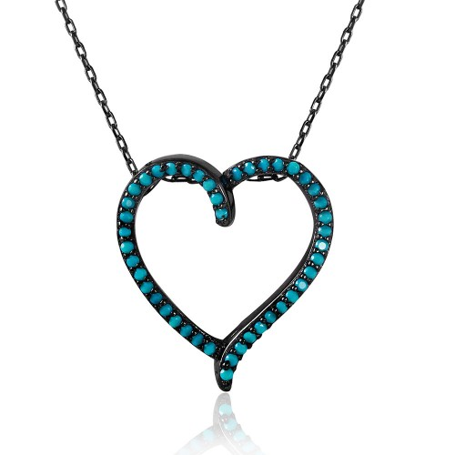 Wholesale Sterling Silver 925 Black Rhodium Open Heart Necklace with Synthetic Turquoise Stones - STP01511