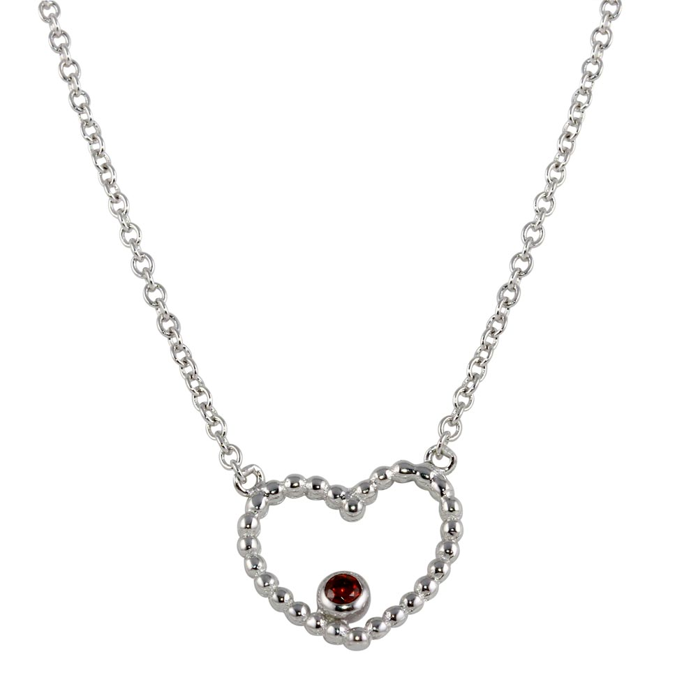 Wholesale Sterling Silver 925 Rhodium Plated Heart Pendant with Red CZ - STP01512