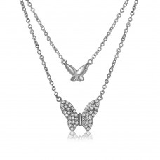 Wholesale Sterling Silver 925 Rhodium Plated Double Butterfly Necklace with CZ - STP01517