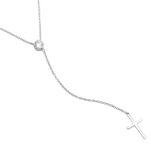 Wholesale Sterling Silver 925 Rhodium Plated Single CZ Stone with Drop Cross Necklace - STP01519