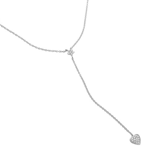 Wholesale Sterling Silver 925 Rhodium Plated Star and Heart Drop CZ Necklace - STP01520