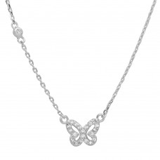 Sterling Silver Rhodium Butterfly CZ Necklace - STP01523
